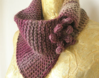 Red-beige handmade knitted scarf