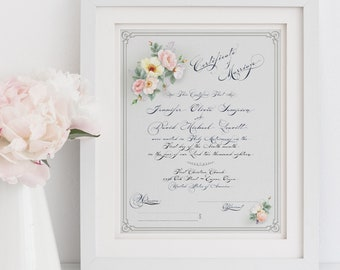 WEDDING CERTIFICATE MARRIAGE Certificate Custom Calligraphy Watercolor Flowers Floral Roses Printable Digital Download Personalized
