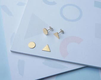 Mix & Match Earrings - Mix and Match Gold Studs - Sterling Silver Earring Set - Simple Minimal Jewellery - Stud Earrings - Gold Studs