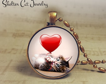 """Valentine Tabby Kitten Necklace - 1-1/4"""" Circle Pendant or Key Ring - Cat Plays with Heart - Holiday Present or Gift for Cat Lover"""