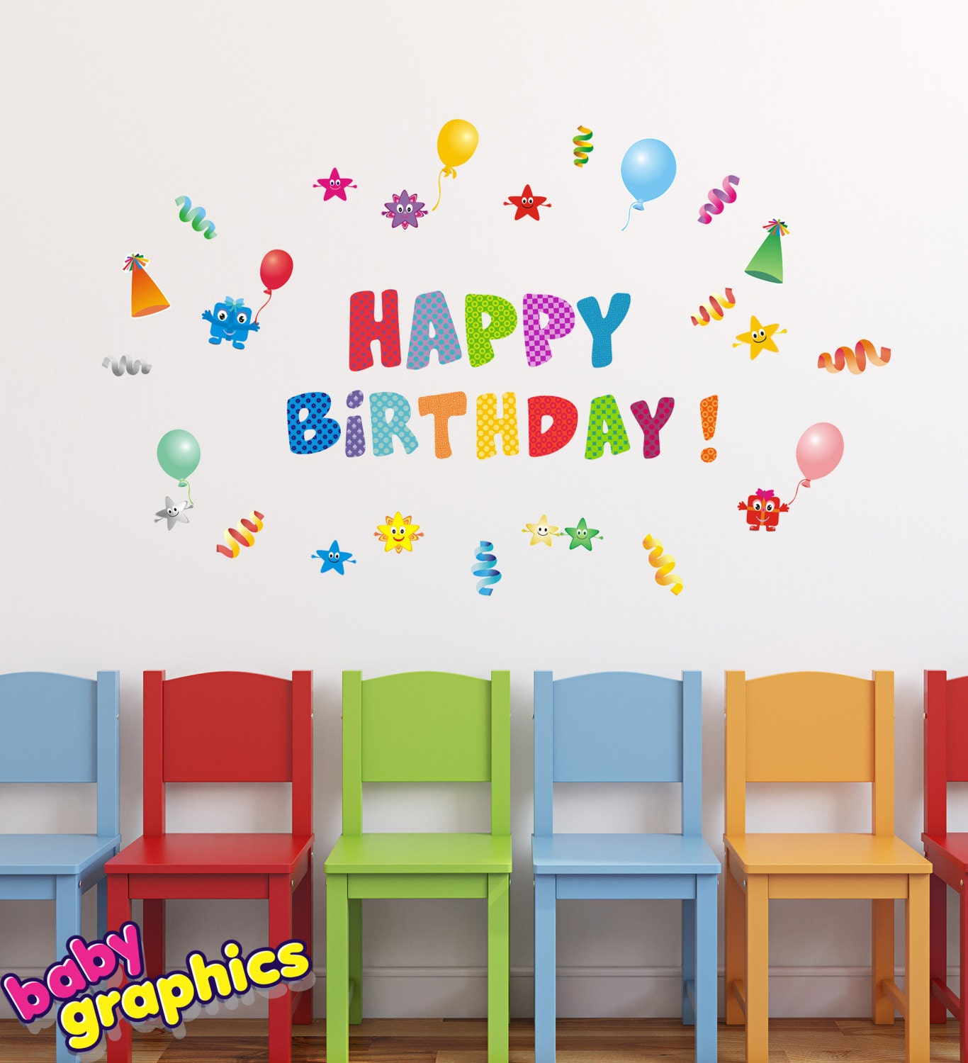 Happy birthday wall stickers set removable and reusable by zoom amipublicfo Choice Image