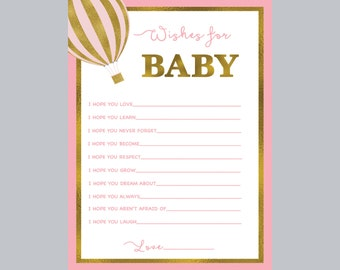 wishes for baby, baby shower activities, well wishes for baby cards, baby shower games, hot air balloon wishes for baby, pink games
