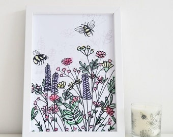 Bee Print Art Illustration Wildflower Meadow