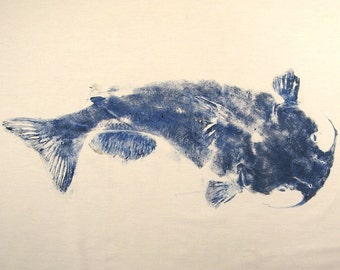 GYOTAKU fish Rubbing Blue Grey Catfish 8.5 X 11 quality Art Print Cottage Decor by artist Barry Singer