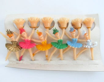Vintage Ballerina Candle Holders/ Ballerina Cake Topper/ Ballerina Cupcake Topper/ Set of 6/ New Old Stock