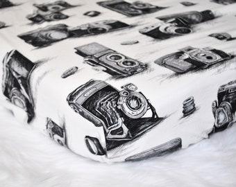 Vintage Camera Crib Sheets  - black and white crib bedding  - Fitted Crib/Toddler Sheet - Hipster Nursery - Modern Nursery Decor