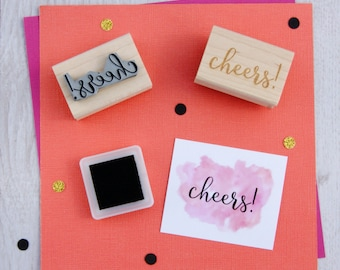 Cheers! Text Rubber Stamp - Thanks Stamper - Sentiment Stamp - Thank You - Card Making - Script Font - Celebration -  Scrapbooking