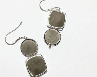 Asymmetrical Concrete Shapes - Sterling Silver Earrings . Minimalistic Simplistic Design Modern Unique Concrete Mixed Media Silver Earrings