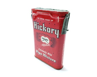 """Vintage Hickory Pipe Mixture Tin   Red Metal Container   """"Extremely Mild Pipe Mixture"""""""