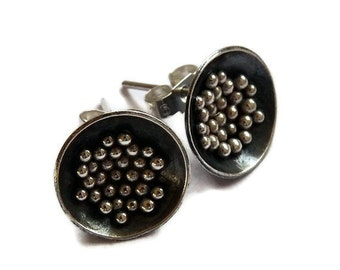 Sterling silver domed post earrings. Sterling silver domed studs. Oxidized earrings.  Silver jewellery. Handcrafted. MADE TO ORDER.