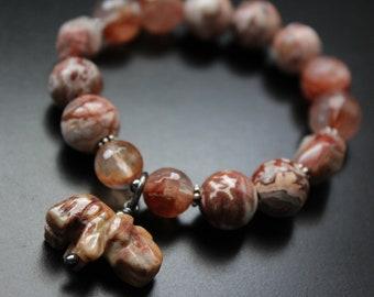 Tribal gemstone lucky elephant charm bracelet, Rosetta lace patterned agate bracelet, blood quartz and Bali sterling stretch bracelet
