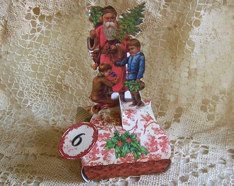 Santa Advent Gift Box INSTANT DOWNLOAD - Vintage Santa Claus Gift-A-Day Box For The 12 Days Of Christmas CS27XP