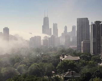 Fog Over Chicago Skyline