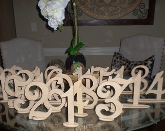 Wood Wooden Wedding Reception Birthday Party Table Numbers 1-20