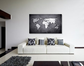 World map single panel black and white canvas print world map silver black world map canvas print wall decor world map canvas print world gumiabroncs Image collections