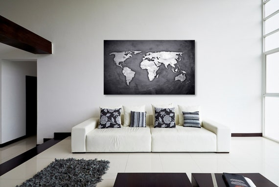 Silver black world map canvas print wall decor world map gumiabroncs Gallery