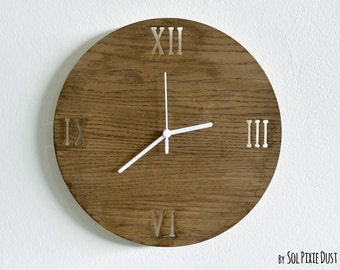 Wooden Simply Circle Latin Numbers - Wooden Wall Clock