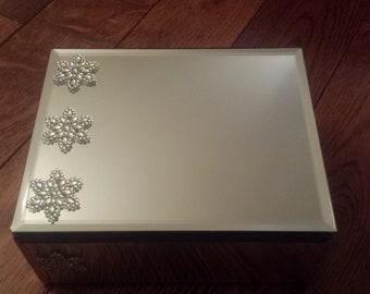 Mirrored Jewelry Box or Home Decor Piece with Rhinestone Flowers