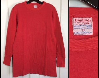 1960s Duofold soft 2 ply double layer cotton wool thermal long underwear undershirt size 44 long sleeve t-shirt light red