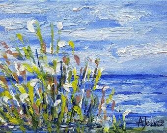Small oil painting landscape Original oil Seascape painting Beach art Impressionist landscape painting Seascape oil painting on canvas 6x8