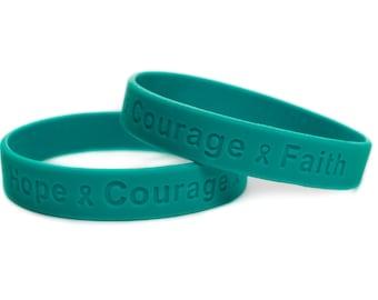 5 pack teal bracelet courage, faith , myasthenia gravis awareness