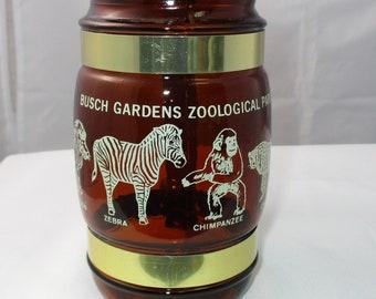Vintage Siesta Ware Busch Gardens Zoo Brown Glass Mug with Wooden Handle in Excellent Condition
