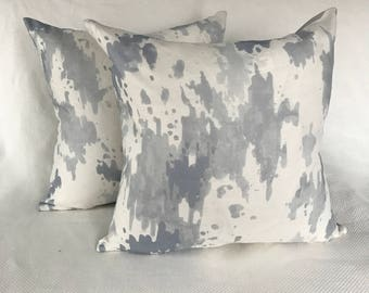 Grey & White Hand Printed Linen Pillow