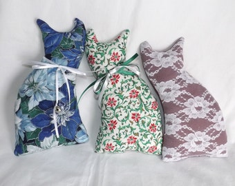 Fancy Christmas Cats, 3 Stuffed Cat Pillows, Lace Cat, Red White Blue Green & Silver, Cat Lover's Gift, Birthday Gift, Christmas Decor