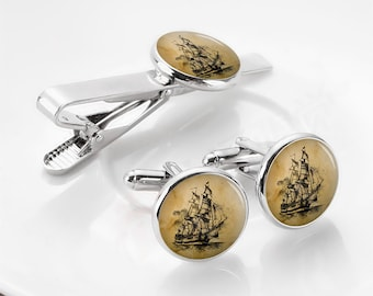 Pirate Ship Cufflinks, Vintage Dark Pirate, Personalized Cufflinks, Custom Wedding Cufflinks, Sailing Ship, Groom Cufflinks, Pirate Cufflink