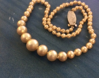 """Vintage simulated pearls 16.5"""" simulated pearl necklace with silver clasp. Gift idea for her."""