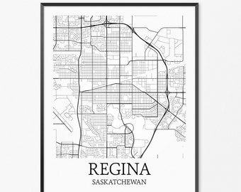 Regina Map Art Print, Regina Poster Map of Regina Decor, Regina City Map Art, Regina Gift, Regina Saskatchewan Art Poster