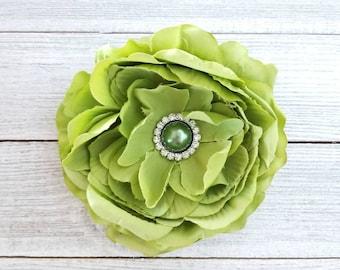 Large Green Flower Clip, Bridal Hair Clip, Flower Girl Clip, Spring Hair Clips, Hair Accessories, Girls Hair Clips, Easter Hair Clips