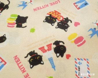 Kawaii Japanese Fabric - Love Kittens Cream - Fat Quarter - (ta131113)