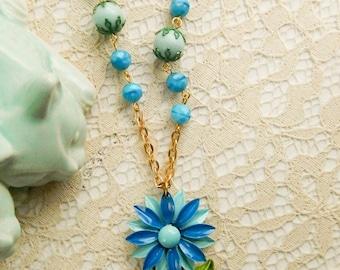 Vintage flower statement necklace / repurposed necklace / flower necklace / upcycled jewelry / assemblage necklace / blue flower necklace