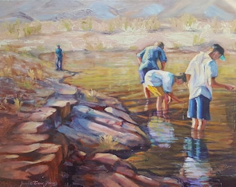 original fishing landscape oil painting, kids summer portrait,impressionism western landscape art, wall decor, Janice Trane Jones,home decor
