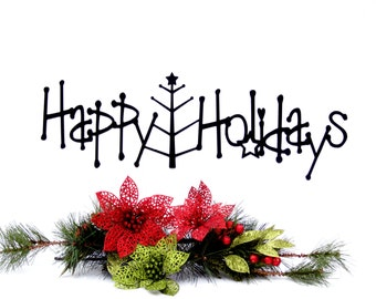 Happy Holidays Metal Sign with Christmas Tree - Black, 20x6.5, Christmas Tree, Outdoor Wall Art, Holiday Decorations