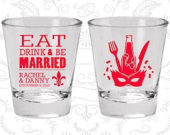 Eat Drink and Be Married Shot Glasses, Glasses, Nola Wedding Shot Glasses, Mardi Gras Wedding Shot Glasses, Fleur De Lis (420)