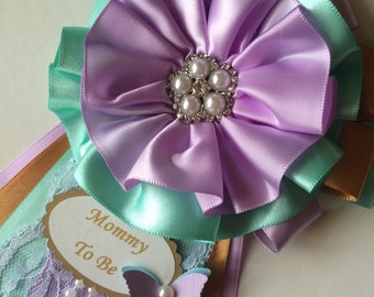 Chic baby shower corsage/Lavender, teal and gold baby shower corsage/Elegant Mommy to Be corsage/Girl baby shower corsage.