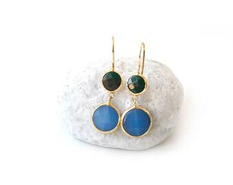 Dark Green and Cornflower Jade Double Stone Hook Gold Plated Earrings