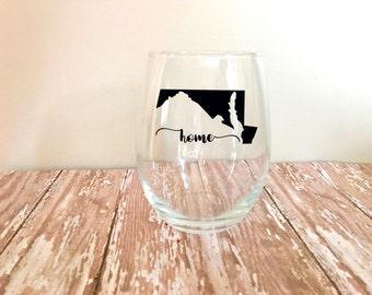 State Wine Glass // Home // Love Home // Home Wine Glass // Stemless Wine Glass