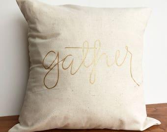 Fall decor- gather pillow, fall pillows, 18x18 inch pillow cover