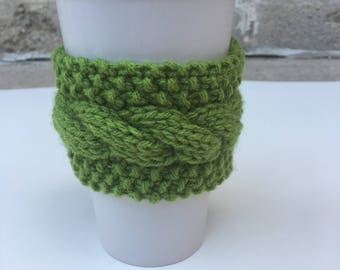 Cabled Coffee Sleeve, Knit Coffee Cozy