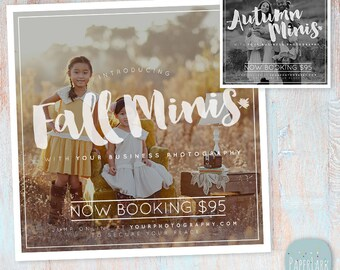 Photography Marketing Board - Fall/Autumn Mini Sessions - Photoshop template - IW019 - INSTANT DOWNLOAD