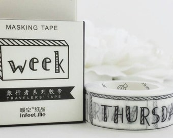 "Week Days washi 3/5"" tape for planner calendar scrapbook journal craft swap mail package organize weekly #Lillibon"