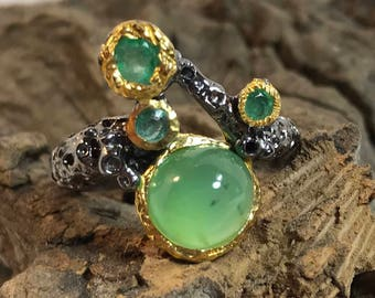 Natural Prehnite and Emerald Black Rhodium Plated Sterling Silver Ring Size 7.25
