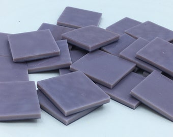 purple solid opal stained glass hand cut pieces mosaic art tiles squares 1""