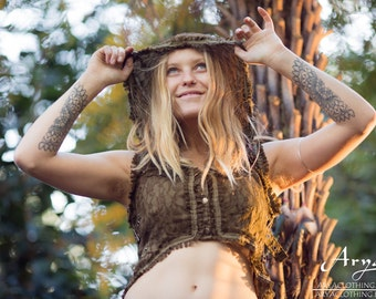 Maya Vest (Masala) - Festival Clothing Boho Gypsy Hoodie Festival Tribal Hippie Big Hood Lace Bohemian