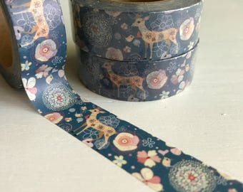 Deer and Floral Washi Roll