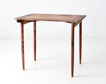 antique wooden folding table, wood collapsible end table