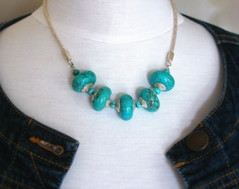 Chunky Statement Necklace - Turquoise Blue - Statement Necklace - Howlite Stones